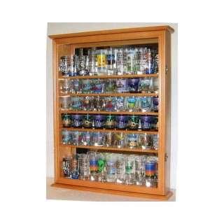 Large 72 Shot Glass Display Case Cabinet Rack Holder Glass Door