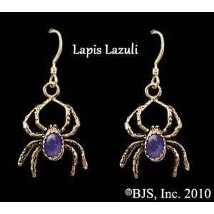 Spider Earrings with Gem, 14k Yellow Gold, Lapis Lazuli set gemstone