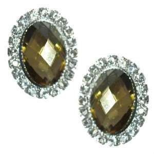 Urbana Silver Amber Crystal Clip On Earrings Jewelry