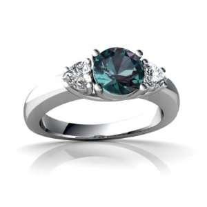 14K White Gold Round Created Alexandrite Ring Size 5 Jewelry