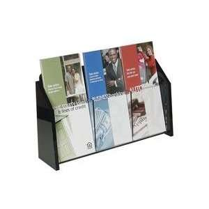 com D01931W    Wall Mount Brochure Holder, Clear w/Black Ends, 1 tier