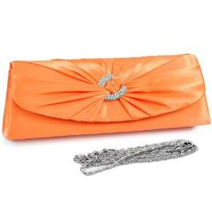 Orange Evening bag w/ rhinestone ring accented flap