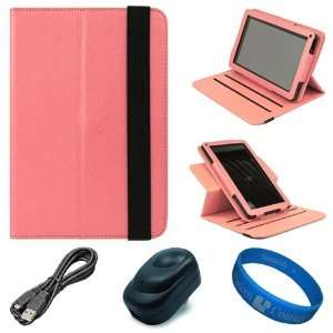 SumacLife Pink Textured Leather Folio Case Cover with Fold
