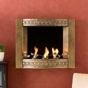 Sei Antique Gold Wall Mount Fireplace Gel Fuel Indoor Outdoor Patio