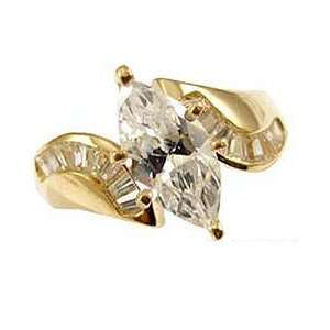 Gold, Fancy Ladys Engagement Ring Marquise Cut Created Gems Jewelry