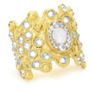 Coin Pearl And Clear Cubic Zirconia 18k Gold Dipped Cuff Jewelry