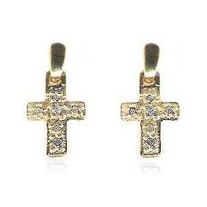 18K Gold over Sterling Silver Diamond Accent Cross