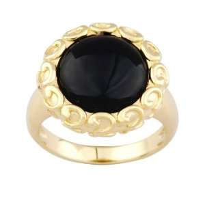 Yellow Gold Plated Sterling Silver Black Onyx Ring, Size 8 Jewelry