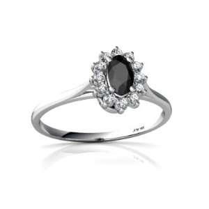 14K White Gold Oval Genuine Black Onyx Ring Size 5.5 Jewelry