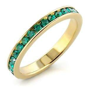 Size 6 Emerald Crystal Brass Gold Plated Ring AM Jewelry