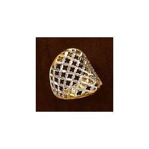14K Gold Plated Sterling Silver Ring, 7/8 inch wide