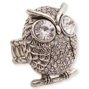 Silver Metal Rhinestone Owl Stretch Ring Jewelry