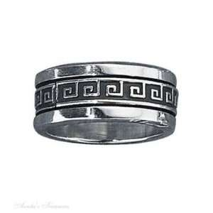 Silver Mens Wide 9.5mm Band Greek Key Spinner Ring Size 10: Jewelry