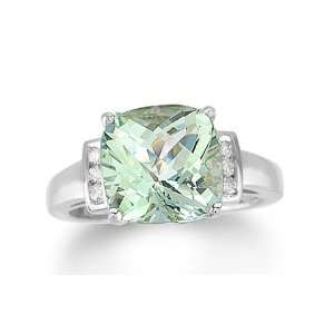 4.10 Ct Green Amethyst & Diamond 14K White Gold Ring