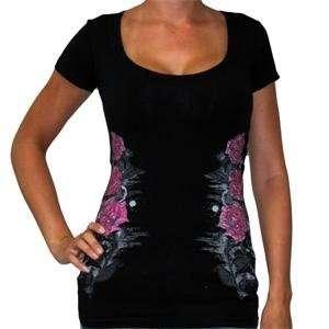 SRH Womens Rose Hatch T Shirt   Small/Black Automotive