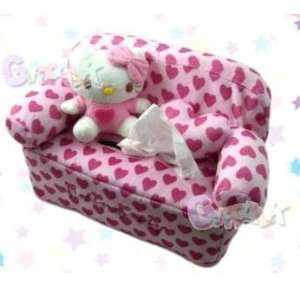 Sanrio Hello Kitty Plush Pink Hearts Tissue Box Cover