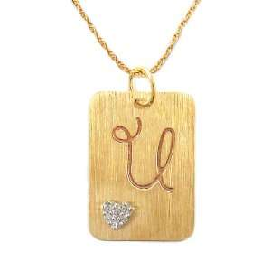 Gold Plated Sterling Silver with Diamond Accent U Initial Pendant