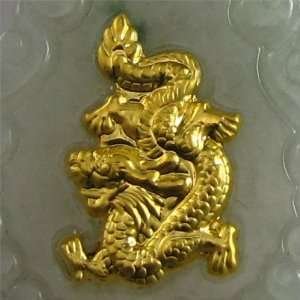 Natural Jade Agate 24k Gold Zodiac Dragon Necklace