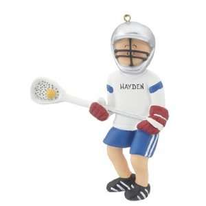 Personalized Lacrosse Boy Christmas Ornament