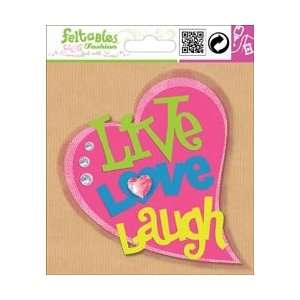 Pkg Pink Live, Love, Laugh Heart; 3 Items/Order Arts, Crafts & Sewing