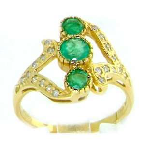 Luxury Womens 9K Yellow Gold Emerald & Diamond Ring  Size