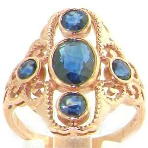 Luxury Elegant Womans 9K Rose Gold Large Blue Sapphire Victorian Style