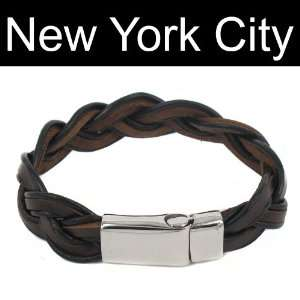 Leather Bracelet Wristband Stainless Steel Magnetic Lock B0083BRN