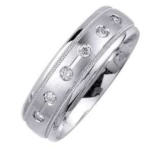 Beverly Diamonds Mens 14K WHITE GOLD DIAMOND WEDDING BAND