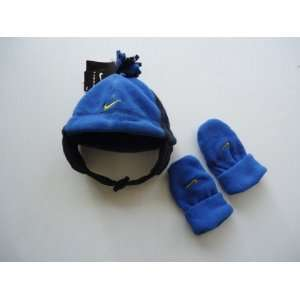 Black and Blue Sapphire Fleece Hat and Mittens Gloves, Size 2T   4T
