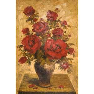 The Red Roses Vase MODERN ART LARGE OIL Painting 24 X 36
