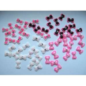 Nail Art 3d 60 Pieces Mix Bow/ Rhinestone for Nails, Cellphones 1.3cm