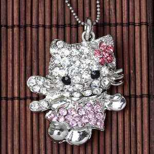 Silver Plated Crystal Angel Kitty Cat Pendant and Necklace w/ HK Pouch