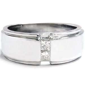 Mens 14K White Gold Princess Cut Diamond Wedding Ring Jewelry