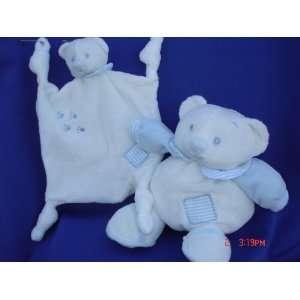 Blue Plush Teddy Bear Stuffed Animal Toy Rattle 7 Tall, 2 Pcs Set
