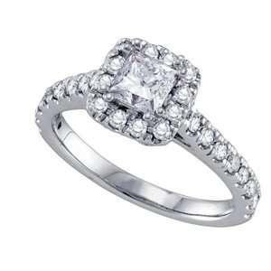 Carat Princess Round Diamond 14k White Gold Halo Engagement/Bridal