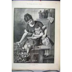 1889 Mother Little Girl Stirring Christmas Pudding Art