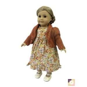 American Girl Doll Clothes Rust Floral Dress w/ Bolero