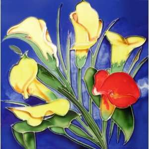 Yellow Red Flowers 8x8x0.25 inches Decoration Art Wall