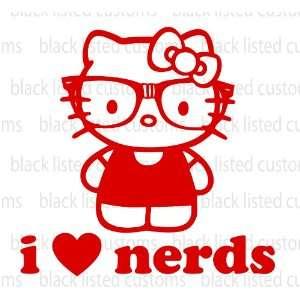 Hello Kitty I Love Nerds RED Glasses Heart Vinyl Decal
