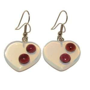 21 Heart Glass Opalescent Red Stone Crystal Healing 1.9 Jewelry