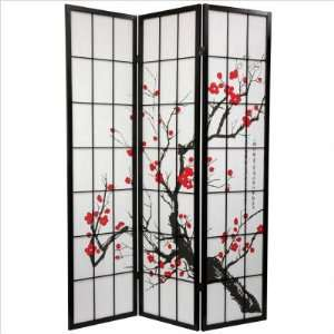 Oriental Furniture Flower Blossom Room Divider in Black SS