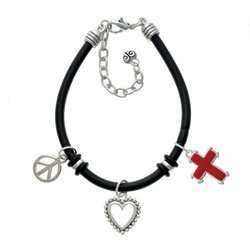 with Simple Border Black Peace Love Charm Bracelet [Jewelry] Jewelry