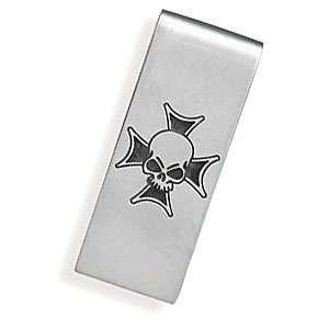 Steel Money Clip with Skull Design West Coast Jewelry Jewelry