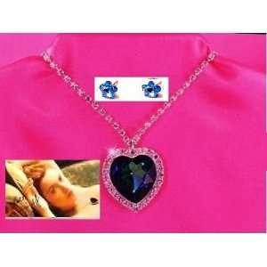Blue Swarovski Crystal Titanic Heart of the Ocean Necklace