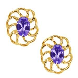 0.90 Ct Oval Blue Tanzanite 10k Yellow Gold Earrings Jewelry