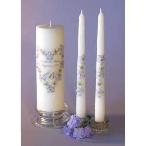 Blue Swarovski Crystal Unity Candle & Matching Tapers   Heart Design