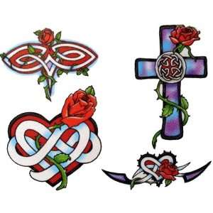 Rose / Celtic Cross Temporary Tattoo Body Art: Health & Personal Care