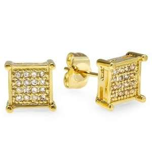 18k Yellow Gold Plated Stud Earrings 7mm Ice Cube Shaped White Round