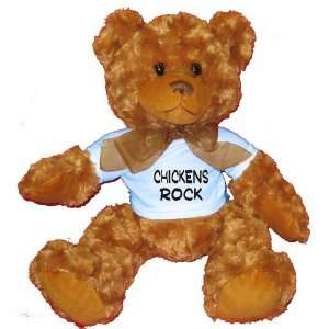 Chickens Rock Plush Teddy Bear with BLUE T Shirt Toys & Games