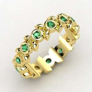 Apple Wreath Ring, 14K Yellow Gold Ring with Emerald
